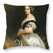 Queen Victoria Throw Pillow by Franz Xaver Winterhalter