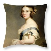 Queen Victoria Throw Pillow by Franz Xavier Winterhalter