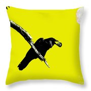Quoth The Raven Nevermore . Yellow Throw Pillow by Wingsdomain Art and Photography