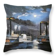 Race On Mississippi, 1860 Throw Pillow by Granger