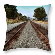 Railroad Tracks With The New Alfred Zampa Memorial Bridge and The Old Carquinez Bridge In Distance Throw Pillow by Wingsdomain Art and Photography