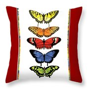 Rainbow Butterflies Throw Pillow by Lucy Arnold