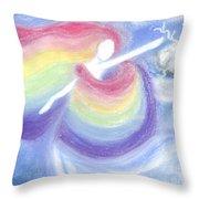 Rainbow Goddess Throw Pillow by Cassandra Geernaert