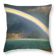 Rainbow Over Jenny Lake Wyoming Throw Pillow by Albert Bierstadt