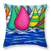 Rainbow Regatta Throw Pillow by Lisa  Lorenz