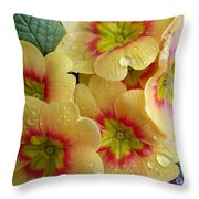 Raindrops On Yellow Flowers Throw Pillow by Carol Groenen