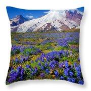 Rainier Lupines Throw Pillow by Inge Johnsson