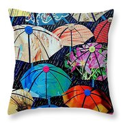 Rainy Day Personalities Throw Pillow by Susan DeLain