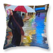 Rainy New York Throw Pillow by Michael Lee