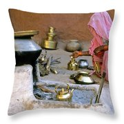 Rajasthani Woman Throw Pillow by Michele Burgess