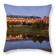 Rangers Ballpark In Arlington At Dusk Throw Pillow by Jon Holiday