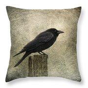 raven Throw Pillow by Elena Nosyreva