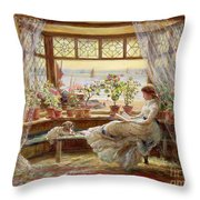 Reading By The Window Throw Pillow by Charles James Lewis
