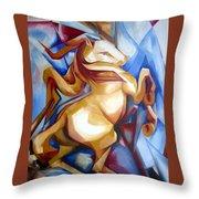 Rearing Horse Throw Pillow by Leyla Munteanu