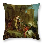 Rebecca Kidnapped By The Templar Throw Pillow by Ferdinand Victor Eugene Delacroix