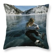 Rebecca Quinton Laces Up Her Ice Skates Throw Pillow by Michael S. Quinton