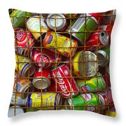 Recycling cans Throw Pillow by Carlos Caetano