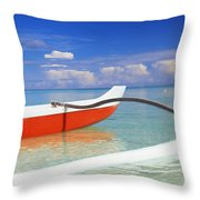 Red And White Canoe Throw Pillow by Dana Edmunds - Printscapes