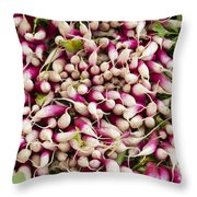 Red And White Radishes Throw Pillow by John Trax