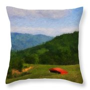 Red Barn on the Mountain Throw Pillow by Teresa Mucha