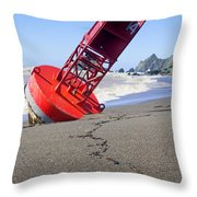 Red Bell Buoy On Beach With Bottle Throw Pillow by Garry Gay