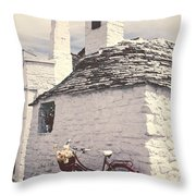 Red Bicycle Throw Pillow by Joana Kruse