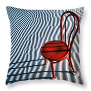Red Chair In Sand Throw Pillow by Garry Gay
