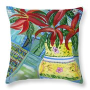 Red Day Lillies Throw Pillow by John Keaton