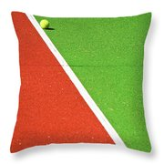 Red Green White Line And Tennis Ball Throw Pillow by Silvia Ganora