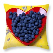 Red Heart Plate With Blueberries Throw Pillow by Garry Gay