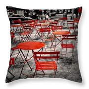Red In My World - New York City Throw Pillow by Angie Tirado