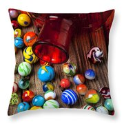 Red Jar With Marbles Throw Pillow by Garry Gay