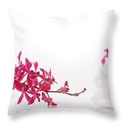 Red Orchid With Towel Throw Pillow by Atiketta Sangasaeng