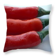 Red Peppers Throw Pillow by Tropical Ties Dominica