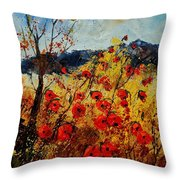 Red Poppies In Provence  Throw Pillow by Pol Ledent