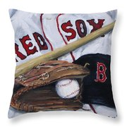 Red Sox Number six Throw Pillow by Jack Skinner