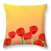 Red Tulips Throw Pillow by Kristin Elmquist