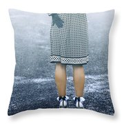 Red Umbrella Throw Pillow by Joana Kruse
