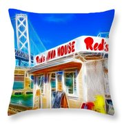 Red's Java House Electrified Throw Pillow by Wingsdomain Art and Photography