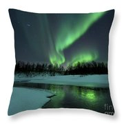 Reflected Aurora Over A Frozen Laksa Throw Pillow by Arild Heitmann