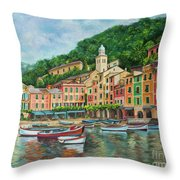 Reflections Of Portofino Throw Pillow by Charlotte Blanchard