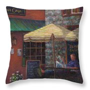 Relaxing at the Cafe Throw Pillow by Susan Savad