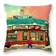 Restaurant Greenspot Deli Hotdogs Throw Pillow by Carole Spandau