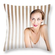 Retro Fashion Model Looking At Copyspace Throw Pillow by Jorgo Photography - Wall Art Gallery