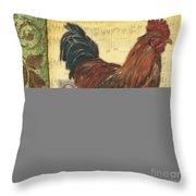 Retro Rooster 2 Throw Pillow by Debbie DeWitt