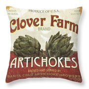 Retro Veggie Labels 1 Throw Pillow by Debbie DeWitt