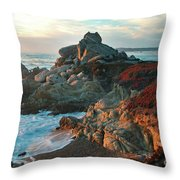 Ribera Beach Sunset Carmel California Throw Pillow by Charlene Mitchell