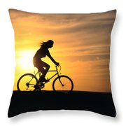 Riding At Sunset Throw Pillow by Dave Fleetham - Printscapes