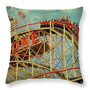 Riding The Cyclone Throw Pillow by Chris Lord