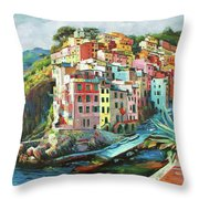 Riomaggiore Italy Throw Pillow by Conor McGuire